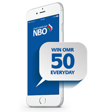 TOP UP YOUR MOBILE & WIN OMR 50 DAILY, JUST USE THE NBO MOBILE APP*